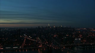 Scenic NYC Nightlife Skyline Aerial