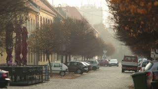 Scenic Romanian Street In The Fall