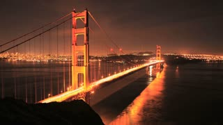 Scenic San Francisco Bridge Night Lapse