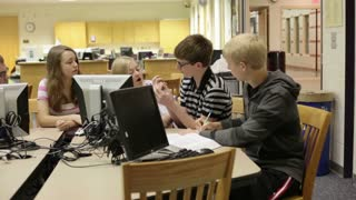 School Library Students Working