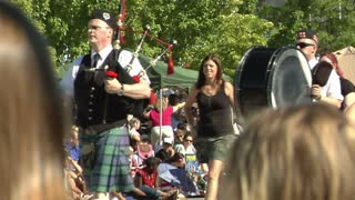 Scottish Bagpipes Marching In Parade