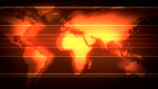 Scrolling Red Shining Flat Globe