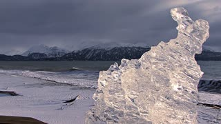 Sculpted Ice On Snowy Beach