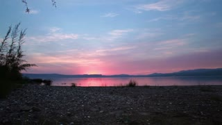 Sea of Galilee Through Trees at Sunset 2