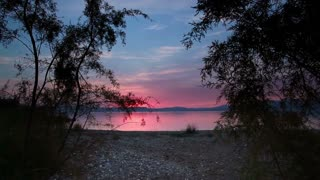 Sea of Galilee Through Trees at Sunset 4