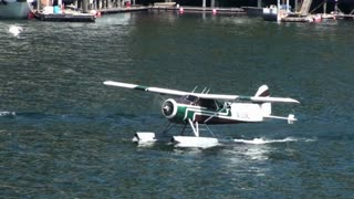 Seaplane Gaining Speed in Water for Takeoff