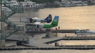 Seaplanes Docked In Harbor
