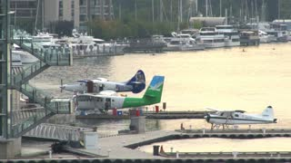 Seaplanes Docked In Vancouver
