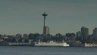 Seattle space needle with ferry