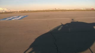 Shadow Of Helicopter Take Off Airport Runway