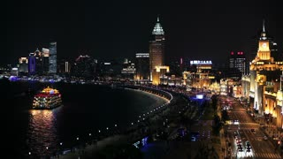 Shanghai night skyline view along Huangpu River and the Bund, Shanghai, China, Asia