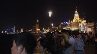 Shanghai River Boat and Night Skyline