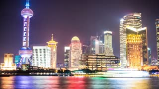 Shanghai skyline night time lapse