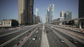 Sheikh Zayed Rd, traffic and new high rise buildings along Dubai's main road, Dubai, United Arab Emirates, Middle East