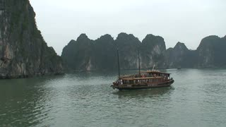 Ship Moving In Vietnam Bay