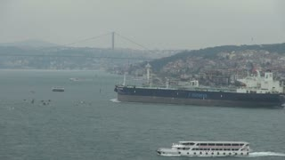 Ships Passing Along Cloudy Bosphorus