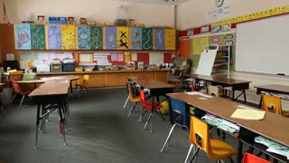 Shot Of Empty Elementary School Classroom