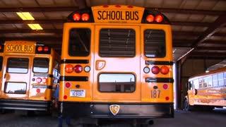 Shot Of Man Walking Behind Parked Schoolbus