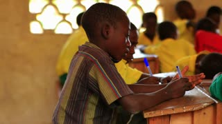 Shot of School Boys in Class in Kenya, Africa