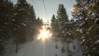 Shot Of Sunshine Through Pines On Rising Chairlift