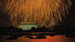 Showering Sparks Over Lincoln Memorial