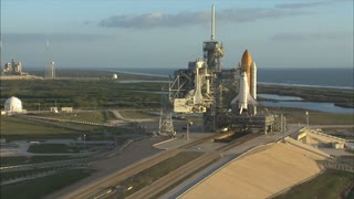 Shuttle on launch pad