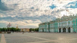 Sight-seeing Winter palace of Russian kings (now Art museum Hermitage ) and Palace square timelapse. St. Petersburg, Russia