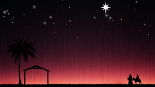 Silent Night Christmas Nativity Background. Mary And Joseph Going To Bethlehem.