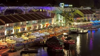 Singapore, Clarke Quay entertainment district on the Singapore river, time lapse