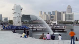 Singapore, Merlion Fountain, Esplanade in background T/L