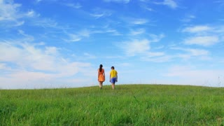 Sister and brother walk away in the field, summer day, static, relationship
