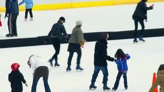 Skaters on Busy Ice Rink in New York 2