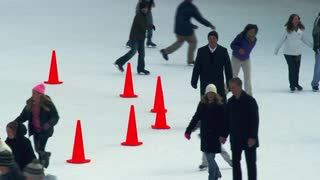 Skaters on Busy Ice Rink in New York