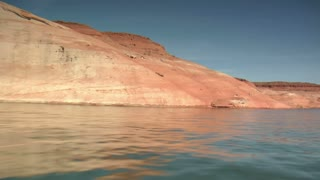 Ski Boat And Red Cliffs On Lake Powell Utah