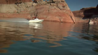 Ski Boat In Red Canyons Lake Powell Utah