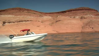 Ski Boat On Lake Powell Utah