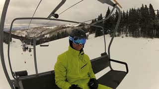 Skier on Ski Lift Perspective