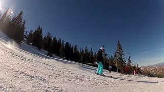 Skier With Blue Pants