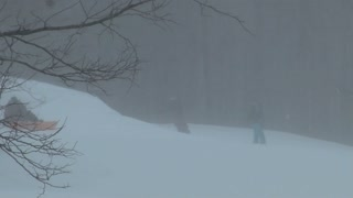 Skiers in Snow Storm and Blizzard 2