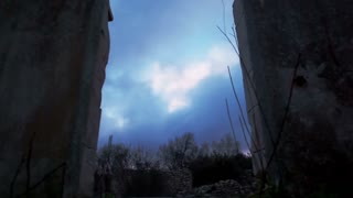 Sky in Between Two Wall Ruins