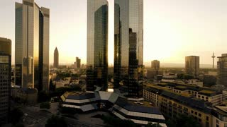 skyscrapers of frankfurt, germany, bank. financial district. fly over. city