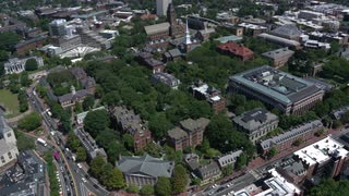 Slow Aerial Pan Over Harvard University, Boston, Massachusetts