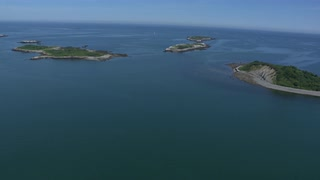 Slow Aerial Shot Over Chain Islands, Boston Harbor