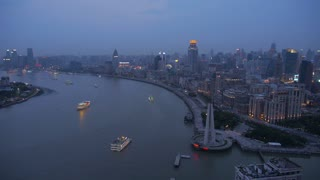 Slow Boats at Dawn on River in Shanghai