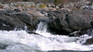 Slow Mo Pan Across River Rapids and Rocks