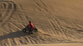 Slow-motion Atv Rider Kicks Up Sand