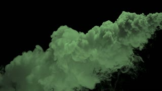 Slow Motion Billowing Green Smoke