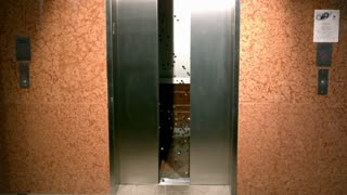 Slow Motion Bouncy Balls in Opening Elevator