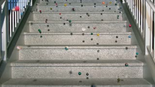 Slow Motion Bouncy Balls on Marble Steps 1