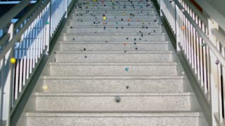 Slow Motion Bouncy Balls on Marble Steps 3